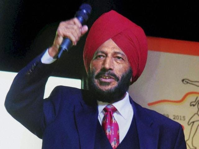 A file photo of legendary Indian athlete Milkha Singh at the flagging off ceremony of 'Hyderabad 10K Run' at Necklace Road in Hyderabad on November 29, 2015.
