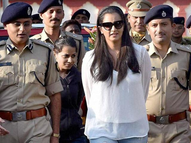 Tennis star Sania Mirza arrives at the curtain raiser of silver jubilee celebrations of CISF (Central Industrial Security Force) at NISA in Hyderabad on November 17, 2015.