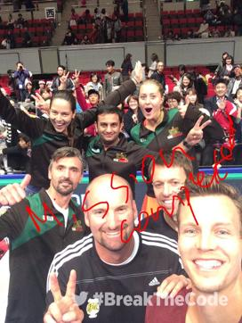 The UAE Royals pose for a team selfie after their win over the Legendari Japan Warriors.