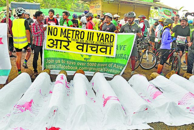 A file photo of protest against the Metro-3 depot at Aarey colony.
