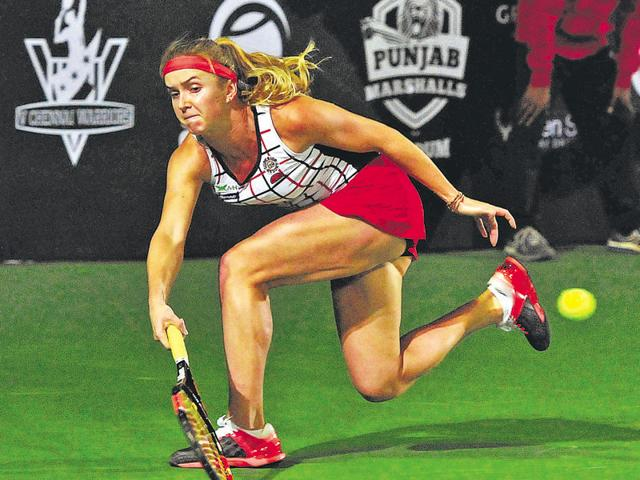 Elina Svitolina of Punjab Marshalls in action during the CTL in Chandigarh on Friday.
