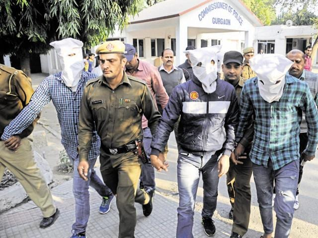 Binder Gujjar and his men were arrested from Subhash Chowk on Sohna Road in Gurgaon on Friday.