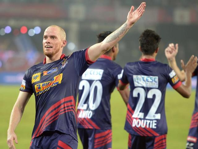 Atletico de Kolkata's forward Iain Edward Hume celebrates after scoring a goal against FC Pune City during the Indian Super League (ISL) match on November 27, 2015.