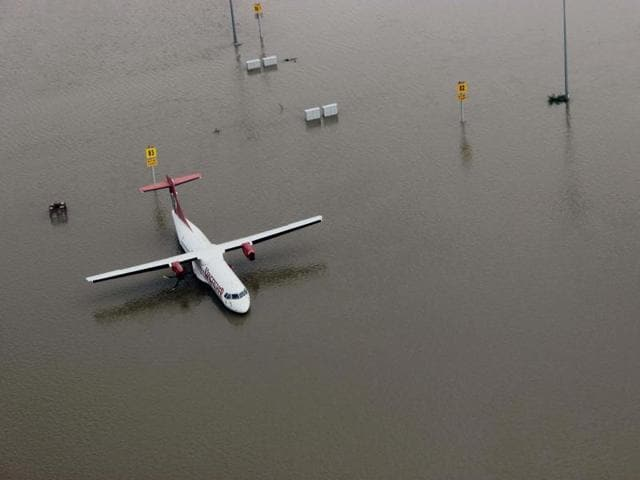 An aerial view of the submerged Chennai airport during heavy rains, in Tamil Nadu.