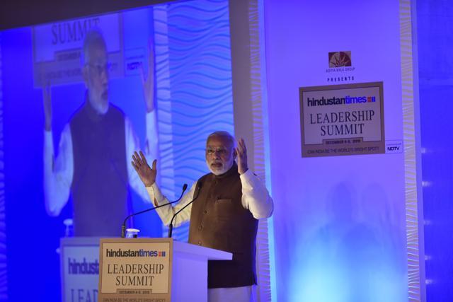 PM Modi addresses the 13th HT Leadership Summit.