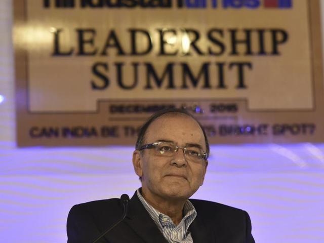 Finance Minister Arun Jaitley speaks during Hindustan Times Leadership Summit, in conversation with Chief Economist of Aditya Birla Group, Dr. Ajit Ranade.