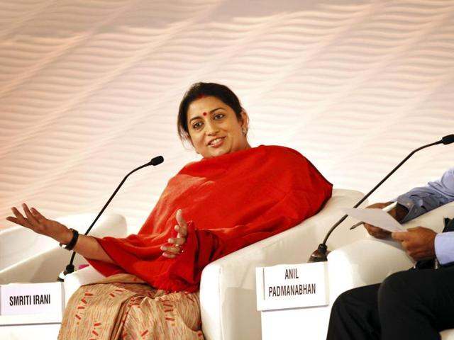 Union minister of human resource development, Smriti Irani in a discussion with Anil Padmanabhan, deputy managing Editor, Mint during the Hindustan Times Leadership Summit.