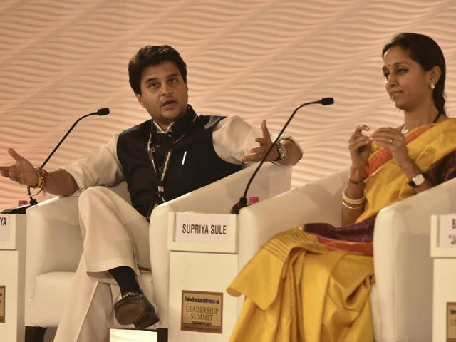 Congress MP Jyotiraditya Scindia speaks during a discussion with NDTV Consulting Editor Barkha Dutt during a session at Hindustan Times Leadership Summit.