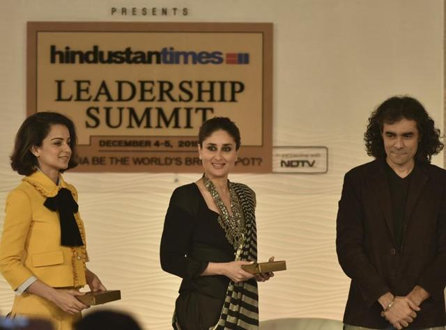Kareena Kapoor Khan and Kangana Ranaut, in discussion with Imtiaz Ali during Hindustan Times Leadership Summit in New Delhi on Friday, December 4, 2015.