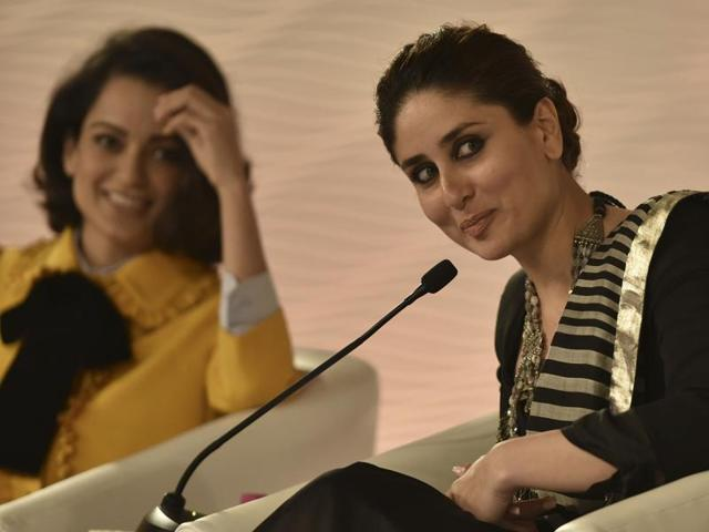 Bollywood actors Kareena Kapoor Khan and Kangana Ranaut, in discussion with film director and writer Imtiaz Ali at the Hindustan Times Leadership Summit 2015.