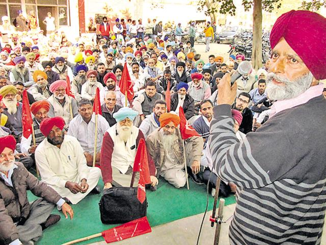 Pea farmers protesting against the state government in Nawanshahr on Friday.