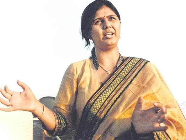 File photo of Maharashtra's rural development minister Pankaja Munde.