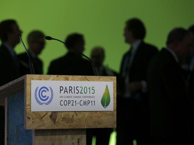 Participants gather during the World Climate Change Conference 2015 (COP21) at Le Bourget, near Paris.