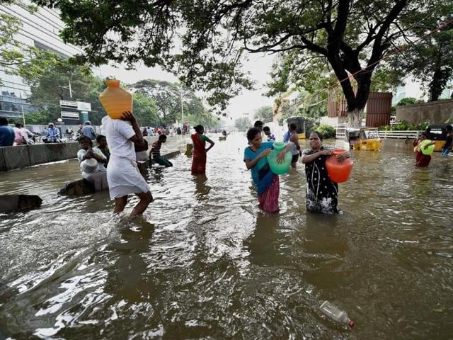 Army personnel during the rescue operation in Chennai after heavy rainfall on Thursday.