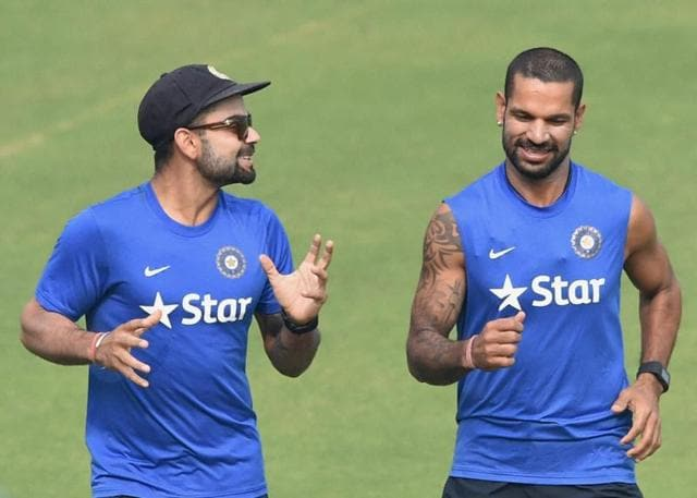 India cricket team captain Virat Kohli with Shikhar Dhawan during a practice sesion in New Delhi on Tuesday ahead of the 4th Test match.