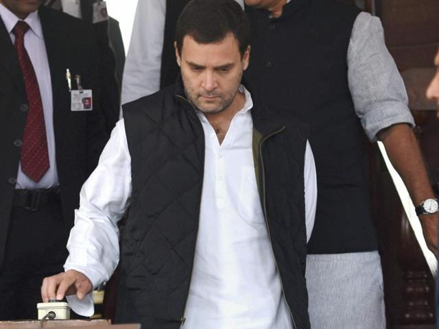 Congress vice president Rahul Gandhi after a meeting with party MPs at Parliament in New Delhi.