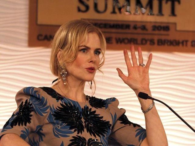 Hollywood actor Nicole Kidman during Hindustan Times Leadership Summit in New Delhi on Saturday.