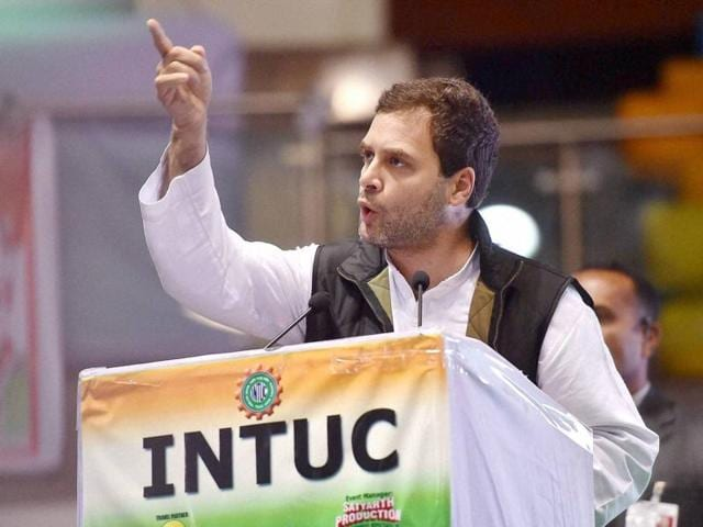 Congress vice-president Rahul Gandhi addresses the 31st Plenary Session of Indian National Trade Union Congress (INTUC) at the Talkatora Stadium in New Delhi.