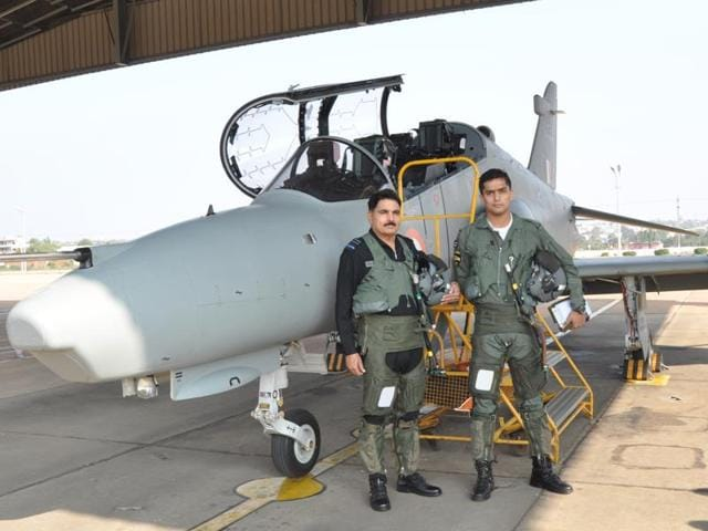 Air Marshal Kulwant Singh Gill with his son Flying Officer Shahbeg Gill.