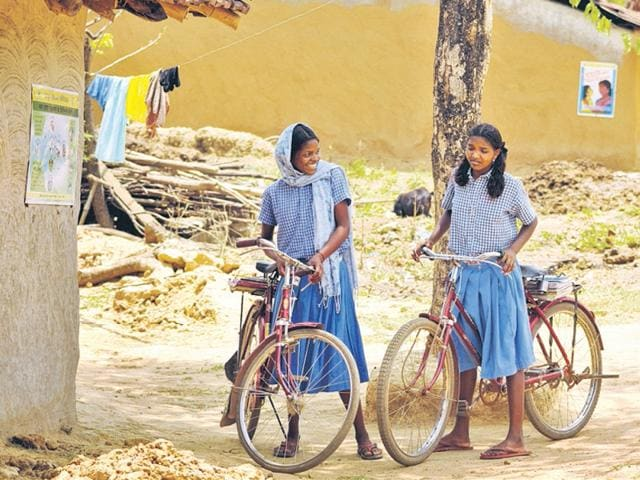 Rural school girls in Gumla.