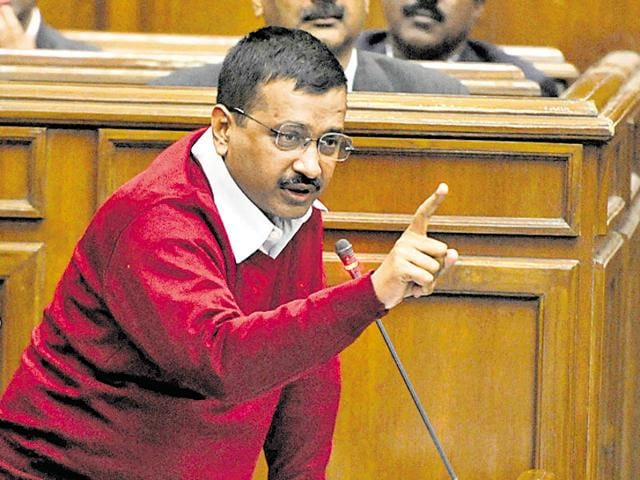 Delhi CMArvind Kejriwal during a discussion before the anti-corruption Janlokpal Bill was passed by Delhi Assembly on Friday