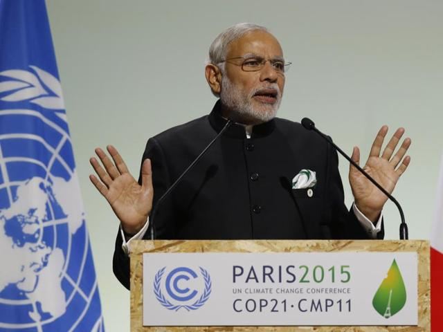 Prime Minister Narendra Modi delivers a speech during the opening session of the World Climate Change Conference 2015 (COP21) at Le Bourget, near Paris.