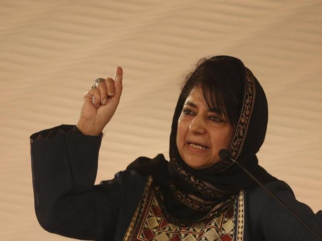 PDP chief Mehbooba Mufti speaks during a session at Hindustan Times Leadership Summit.