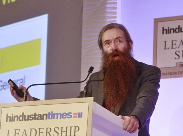 """Dr. Aubrey De Grey , the chief science officer at the Sens Research Foundation with Professor Prabhat Jha of the University of Toronto Chair in Global Health and Epidemiology, and Sanchita Sharma, health editor,  Hindustan Times speaking at a session on """"How to Live Up to 100"""" at Hindustan Times Leadership Summit in New Delhi on Saturday."""