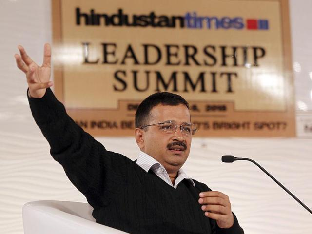 Delhi chief minister Arvind Kejriwal in a discussion with Sanjoy Narayan, Editor-in-Chief, Hindustan Times during Hindustan Times Leadership Summit in New Delhi on Saturday.