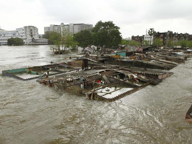 Houses submerged in flood waters, in Chennai. The heaviest rainfall in more than 100 years devastated swathes of the state of Tamil Nadu.