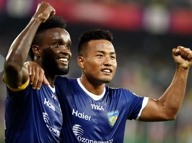 Steven Mendoza and Jeje Lalpekhula celebrating after score a goal against Delhi Dynamos FC during the Indian Super League (ISL) match at Jawaharlal Nehru Stadium in Chennai on November 24, 2015.