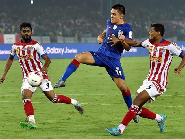 Atletico de Kolkata  and Mumbai City FC players in action during their ISL match in Kolkata on December 4, 2015.