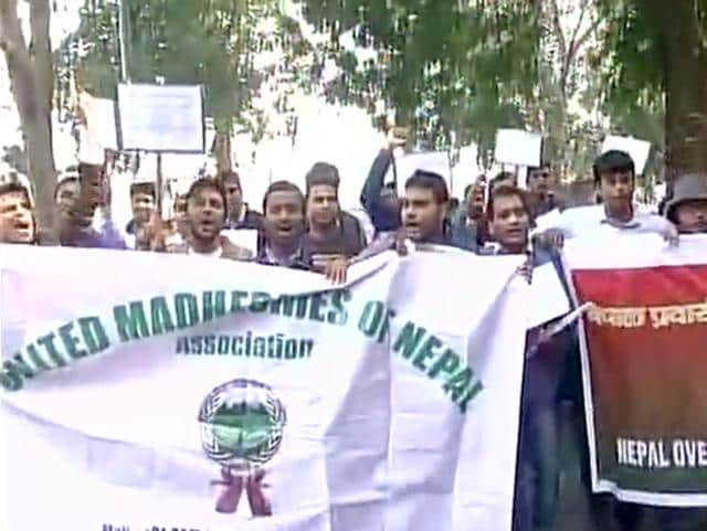 United Madheshies of Nepal association protest outside the Nepal Embassy in Delhi over the country's proposed new constitution.