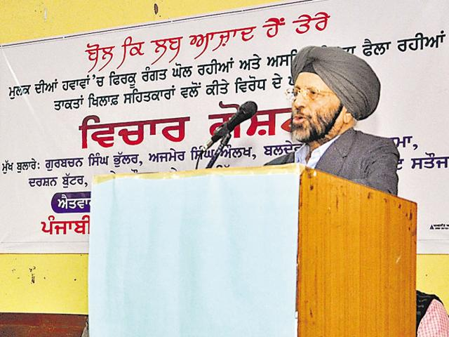Writer Gurbachan Singh Bhullar addressing a gathering during Seminar on Punjabi literature in Bathinda on Sunday.