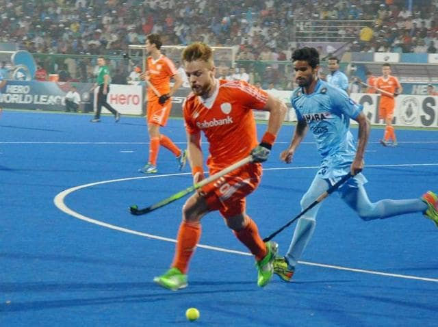 Raipur: Players of India and Netherlands vie for the ball at the FIH Hockey World League Final in Raipur.