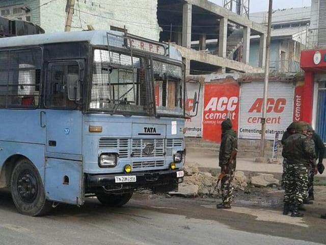 Militants fired at a CRPF bus, which was part of a convoy on way to Jammu from Srinagar, near Green Tunnel at Samthan in Bijbehara.
