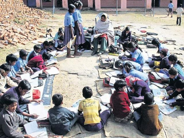 Students at a government primary school near Ranchi.