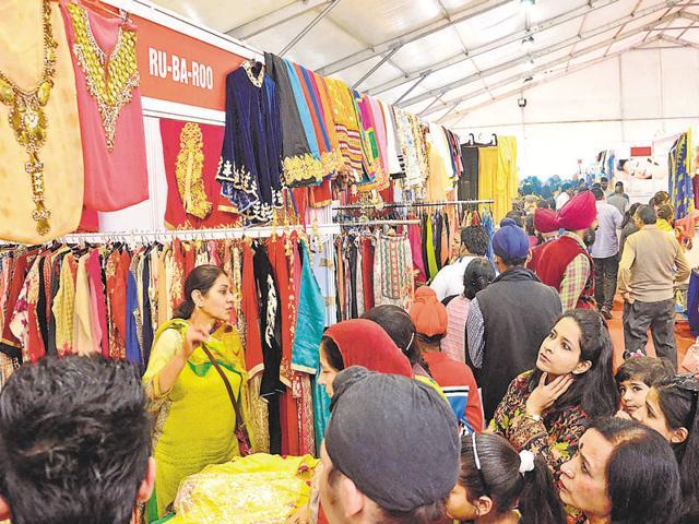 Visitors looking at various stalls during the Punjab International Trade Expo-2015 in Amritsar on Monday.