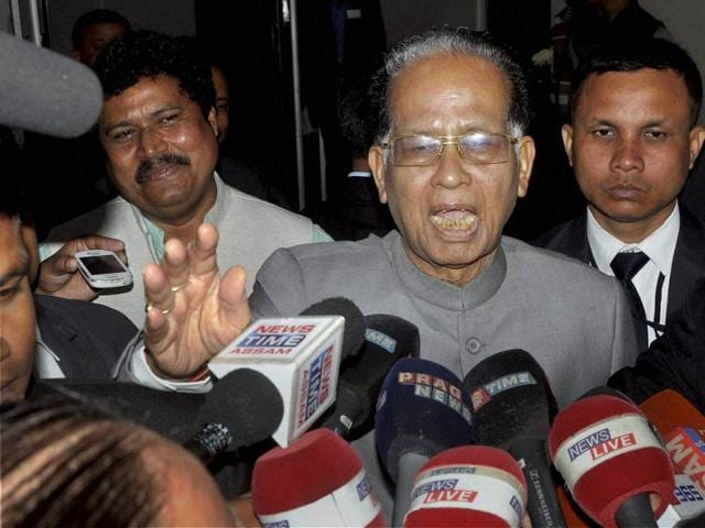Assam Chief Minister Tarun Gogoi talks with media persons during the first day of winter session of Assam Legislative Assembly in Guwahati on Monday.