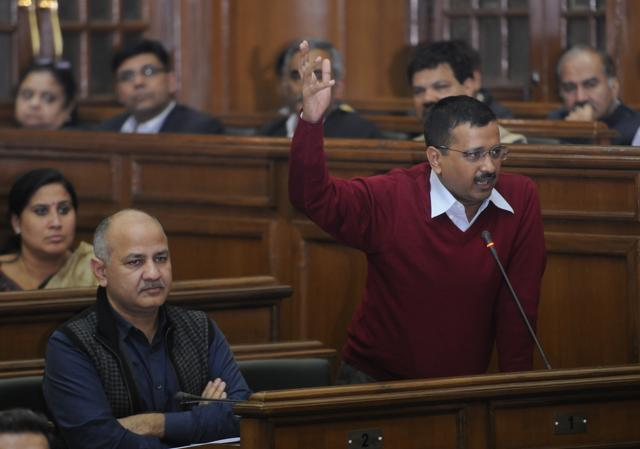 Chief minister Arvind Kejriwal speaks during discussion in Delhi assembly.