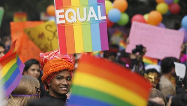 LGBT activists at the eighth Delhi Queer Pride parade in November. The activists demanded the repeal of Section 377, a law that criminalises homosexual relationship.