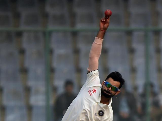 Virat Kohli bowls. Kohli employed as many as eight bowlers in an attempt to end the Proteas' stubborn resistance.