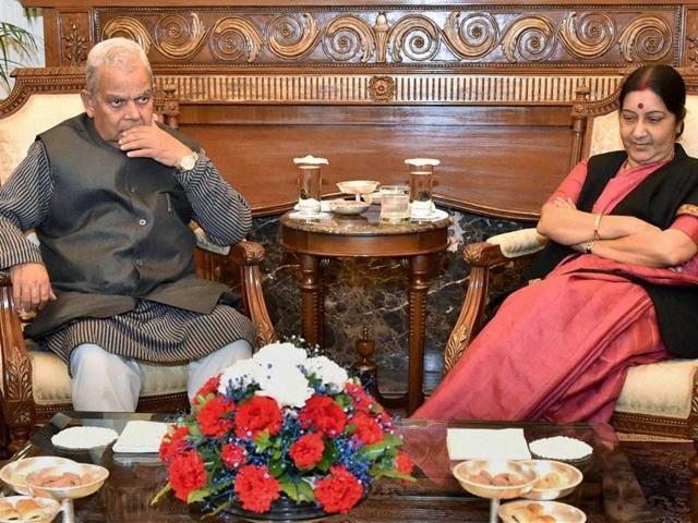 External affairs minister, Sushma Swaraj meets with Madhesi leaders inNew Delhi.
