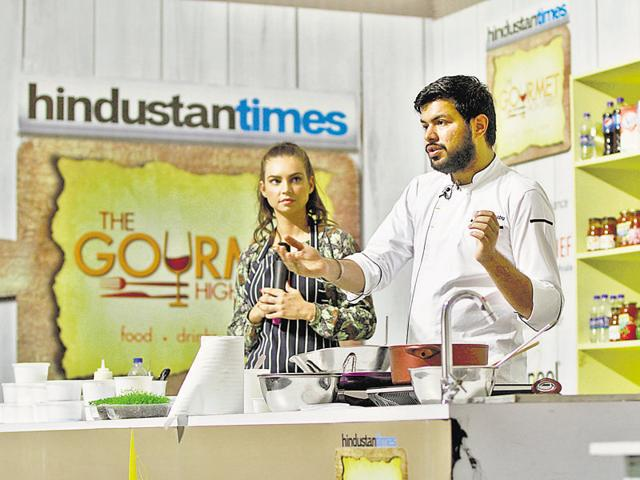 Masterchef Sarah Todd shares culinary tips with visitors at a cooking workshop on the last day of Hindustan Times The Gourmet High Street.