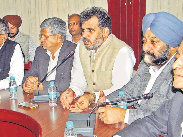 CPS industries and commerce NK Sharma addressing a meeting in Patiala on Monday.