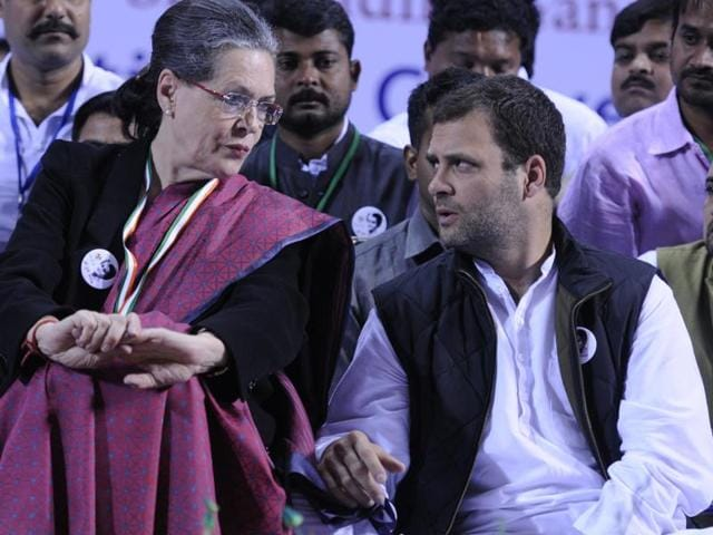 File photo of Congress Party president Sonia Gandhi  with Vice President Congress Party Rahul Gandhi. Delhi high court on Monday refused to quash lower court's summons to Sonia and Rahul Gandhi in the National Herald case.