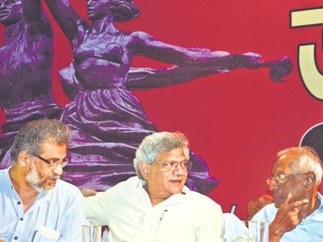 (From left) CPI-ML (Liberation) general secretary Dipankar Bhattacharya, CPM general secretary Sitaram Yechuri and CPI's AB Bardhan.