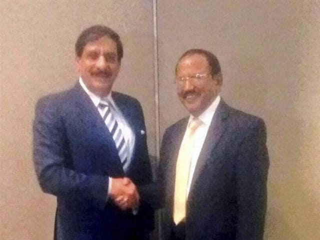 National Security Advisor Ajit Doval with his Pakistani counterpart Nasser Khan at a meeting in Bangkok.