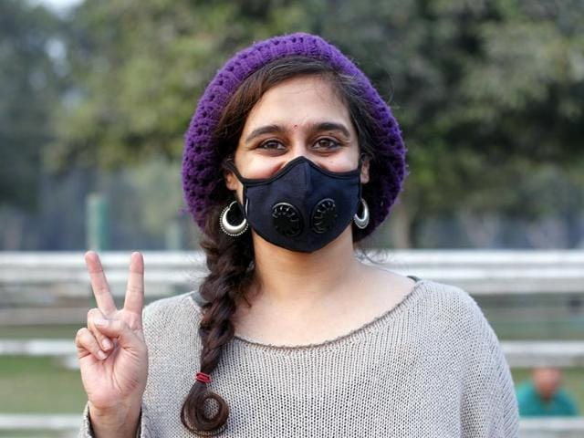 People during the campaign against pollution at India Gate in New Delhi, India.
