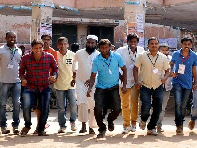 Osmania University students before police foiled their planned run in support of a proposed 'beef festival'.